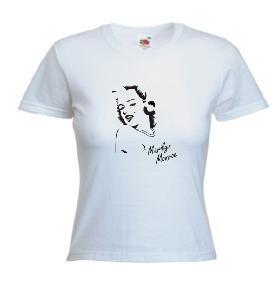 Tricou alb , dama imprimat Marilyn Monroe