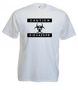 Tricou alb imprimat Caution Bio Hazard