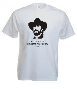 Tricou alb imprimat Chuck Norris Infinity