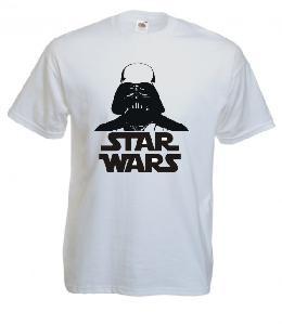 Tricou alb imprimat Darth Vader