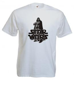 Tricou alb imprimat Darth Vader 3