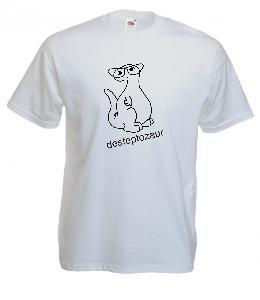 Tricou alb imprimat Desteptozaur