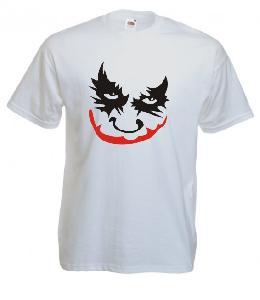 Tricou alb, imprimat Joker