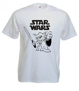 Tricou alb imprimat Master Jedi Yoda