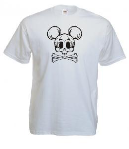 Tricou alb imprimat Mickey Skull