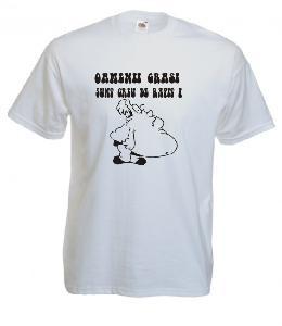 Tricou alb, imprimat Oamenii grasi