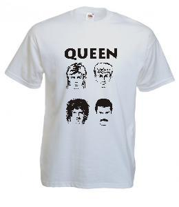 Tricou alb imprimat Queen