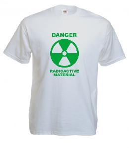 Tricou alb imprimat Radioactiv verde
