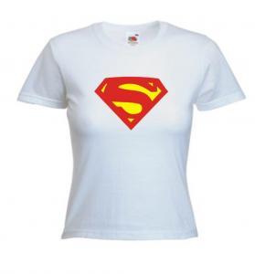 Tricou alb imprimat Supergirl