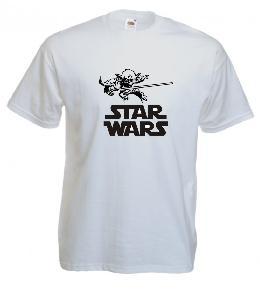 Tricou alb imprimat Yoda Star Wars