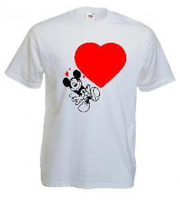 Tricou alb, negru imprimat Mickey Valentine's day