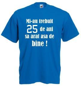 Tricou albastru imprimat Arat bine