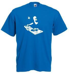 Tricou albastru imprimat DJ 1