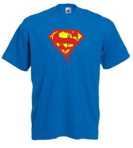 Tricou albastru imprimat Superman Blood