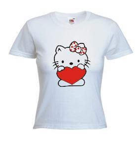 Tricou dama, alb imprimat Hello Kitty