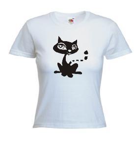 Tricou dama, alb imprimat Pussycat