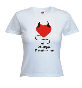 Tricou dama, alb imprimat Valentines Day