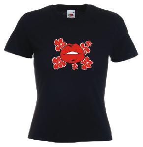 Tricou dama, negru imprimat Buze 2