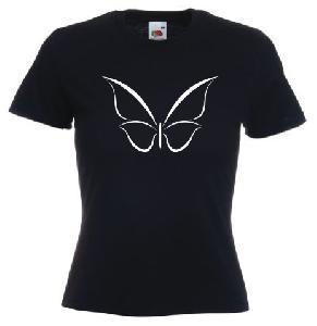 Tricou dama, negru imprimat Fluture tribal