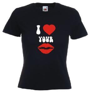 Tricou dama, negru imprimat I love