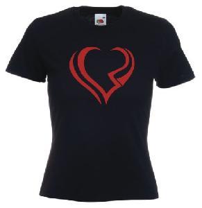 Tricou dama, negru imprimat Inima