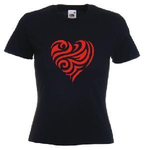 Tricou dama, negru imprimat Inima tribal