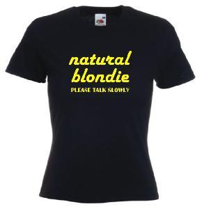 Tricou dama negru, imprimat Natural Blondie