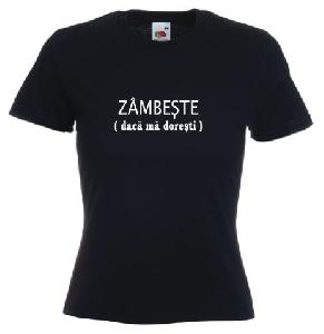 Tricou dama, negru imprimat Zambeste