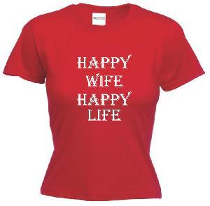 Tricou dama, rosu imprimat Happy Wife