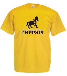 Tricou galben, imprimat Ferrari