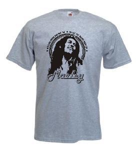 Tricou gri deschis imprimat Bob Marley