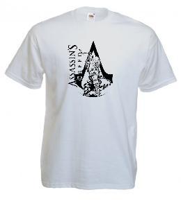 Tricou gri imprimat Assassins Creed Connor