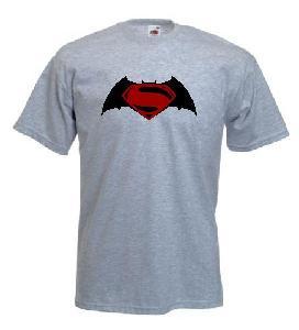 Tricou gri, imprimat Batman Vs Superman