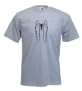 Tricou gri imprimat Broken Spiderman