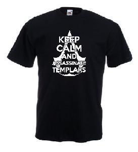 Tricou gri imprimat Keep Calm Assassinate Templars