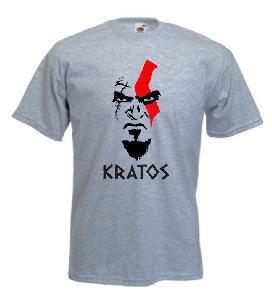 Tricou gri imprimat Kratos