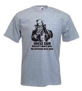 Tricou gri imprimat Uncle Sam
