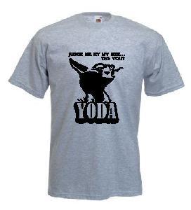 Tricou gri, imprimat Yoda Quote