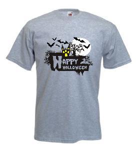 Tricou gri inchis imprimat Happy Halloween