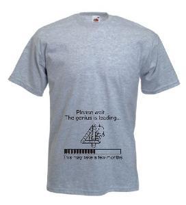 Tricou gri pentru gravide imprimat Genius