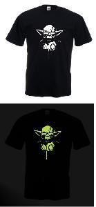 Tricou imprimat fosforescent DJ Yoda