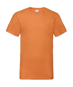 Tricou in V Orange, Fruit of the Loom Valueweight
