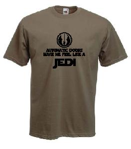 Tricou kaki, imprimat Feel like a Jedi