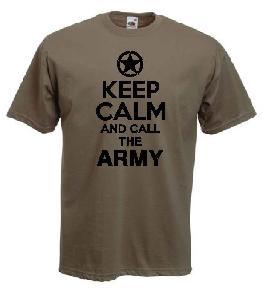 Tricou kaki imprimat Keep Army
