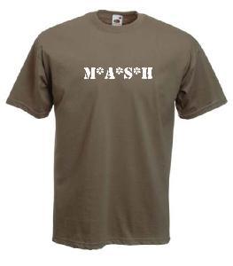 Tricou kaki imprimat M.A.S.H