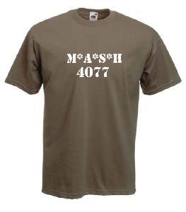 Tricou kaki imprimat MASH 4077
