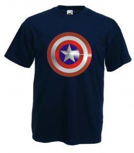 Tricou navy imprimat Captain America Metalic DTG