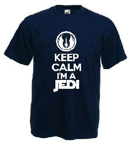 Tricou navy, imprimat Keep Jedi