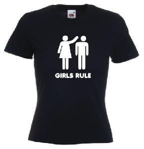 Tricou negru, Dama ,imprimat Girls rules