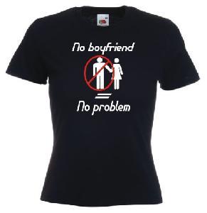 Tricou negru, dama imprimat No boyfriend